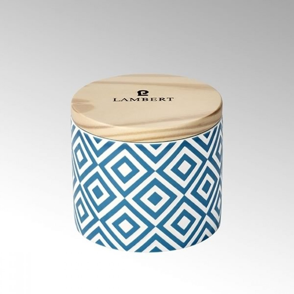 Lambert Duftkerze Ebba, Keramikgefäß mit Deckel, Petrol