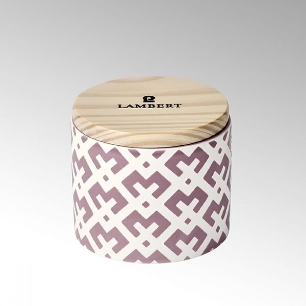 Lambert Duftkerze Ebba, Keramikgefäß mit Deckel, Mauve