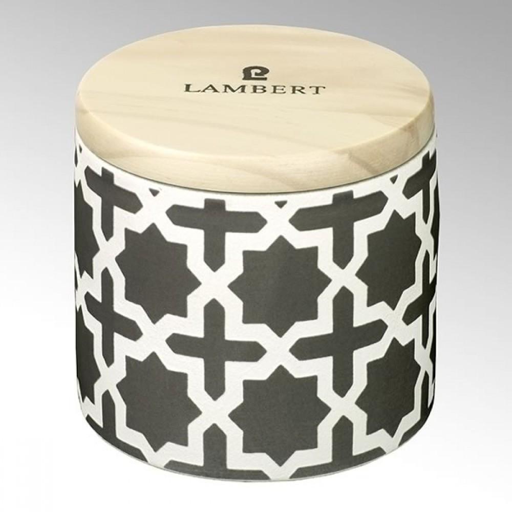 Lambert Duftkerze Ebba, Keramikgefäß mit Deckel, Steingrau