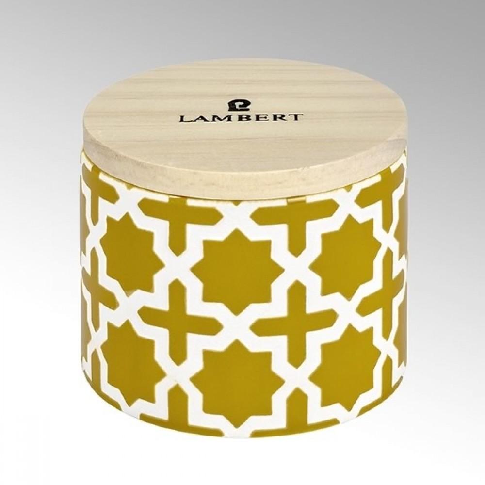 Lambert Duftkerze Ebba, Keramikgefäß mit Deckel, Senf