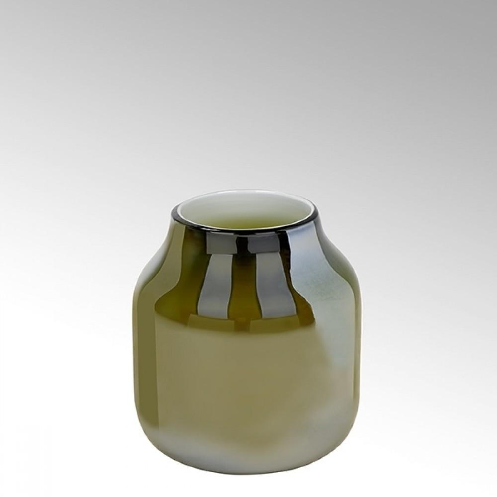 Lambert Glasvase Ferrata, Oliv / Metallic, H 24,5 cm