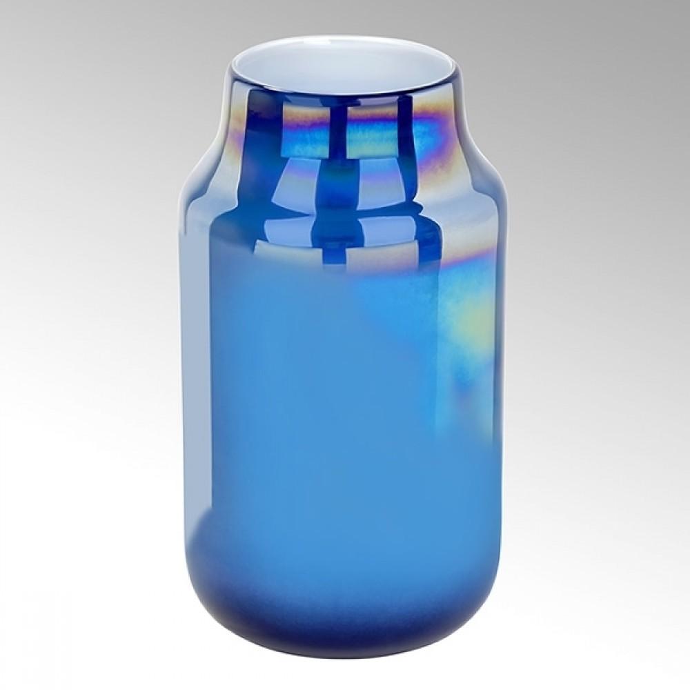 Lambert Glasvase Ferrata, Petrol / Metallic, H 37 cm