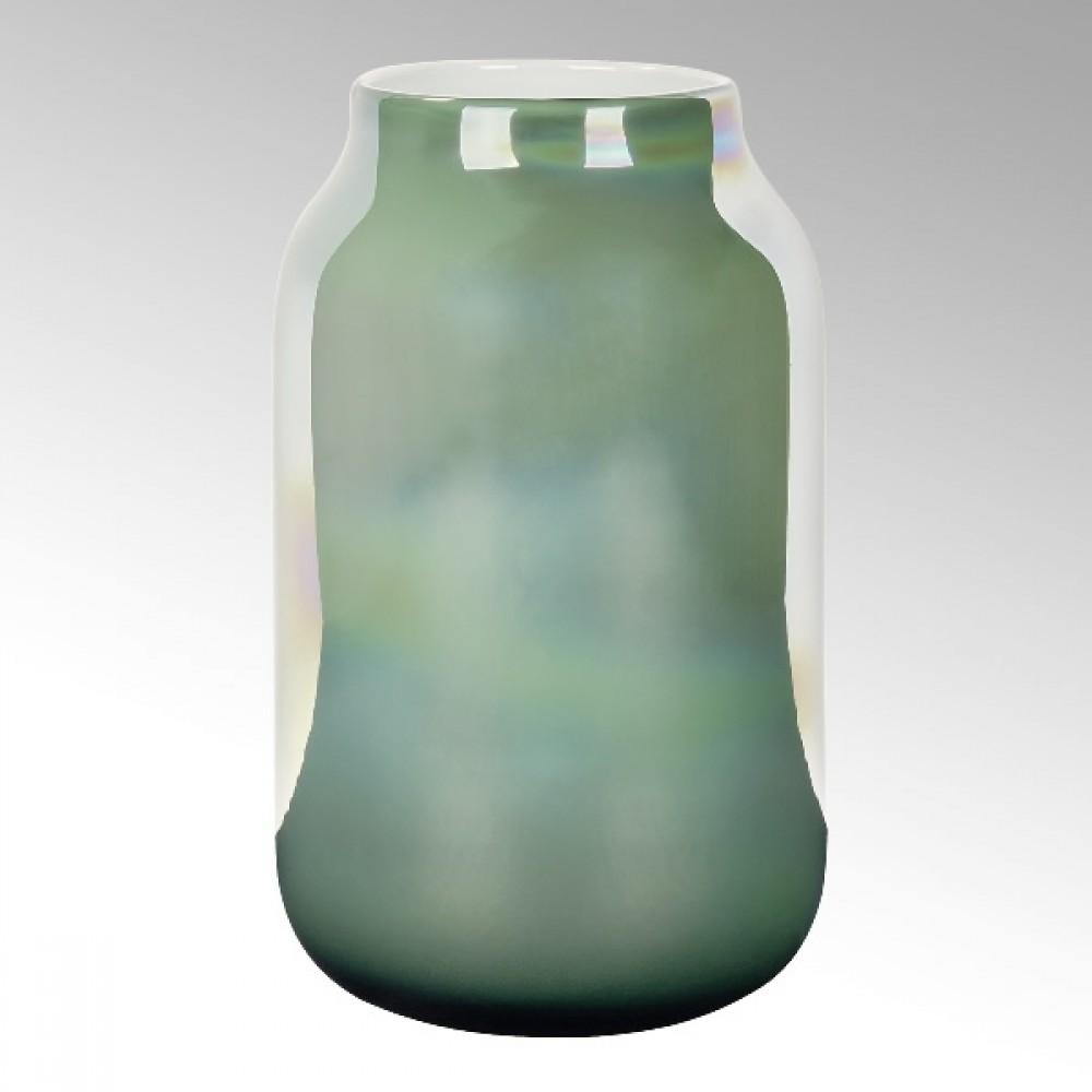 Lambert Glasvase Ferrata, Smaragd / Metallic, H 37 cm
