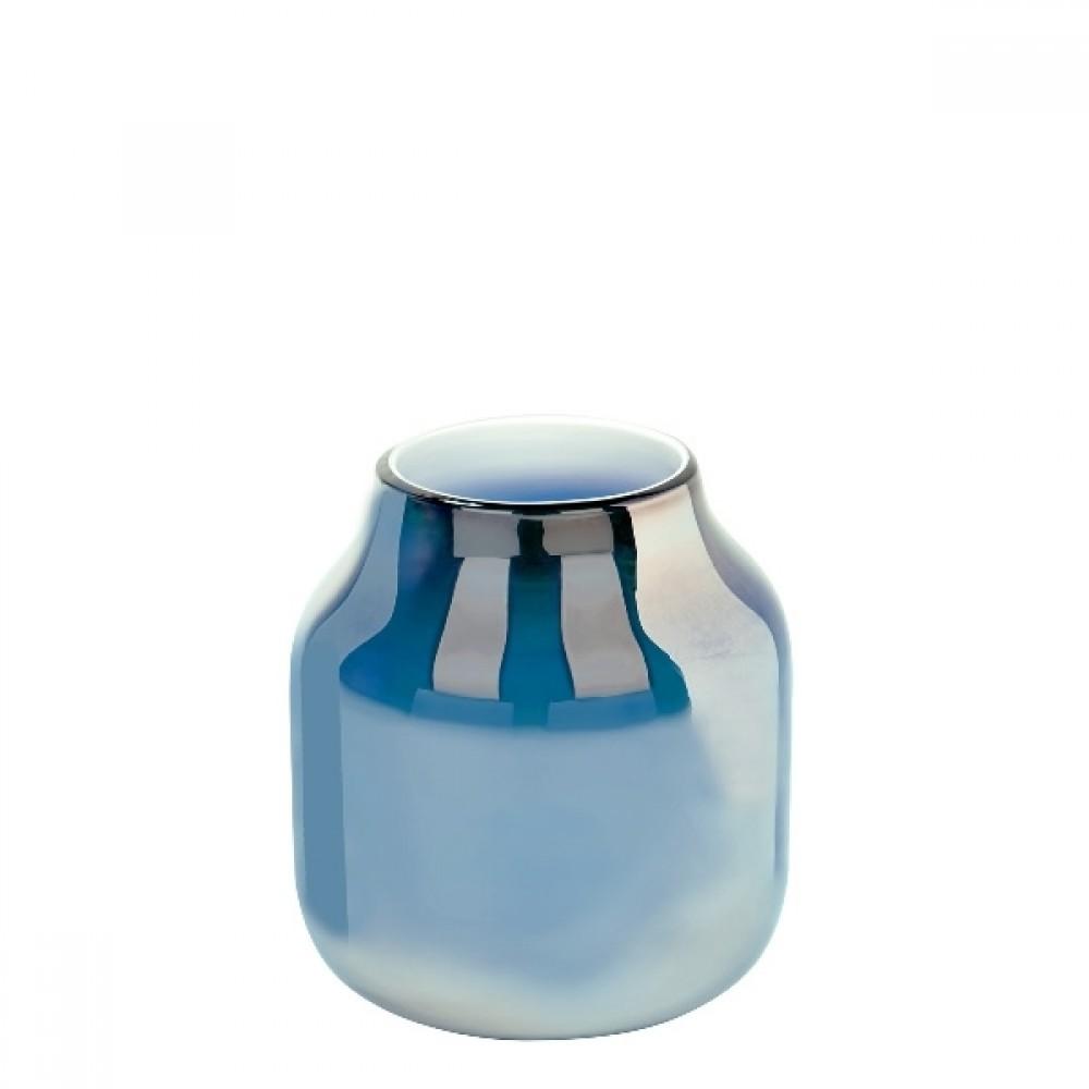 Lambert Glasvase Ferrata, Arctic Blue / Metallic, H 24,5 cm