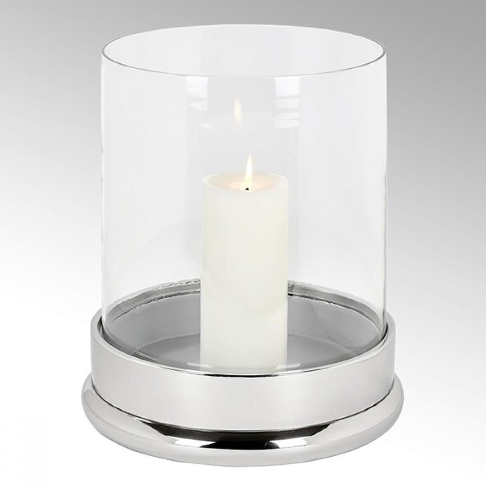 Lambert Windlicht Bao, Silberfarben, H 33 cm