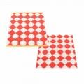 coral red / vanilla / mustard stripe