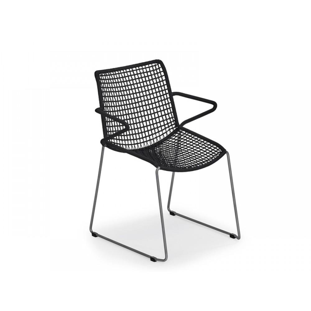 Weißhäupl Sessel Slope - Edelstahl / Kordelgeflecht