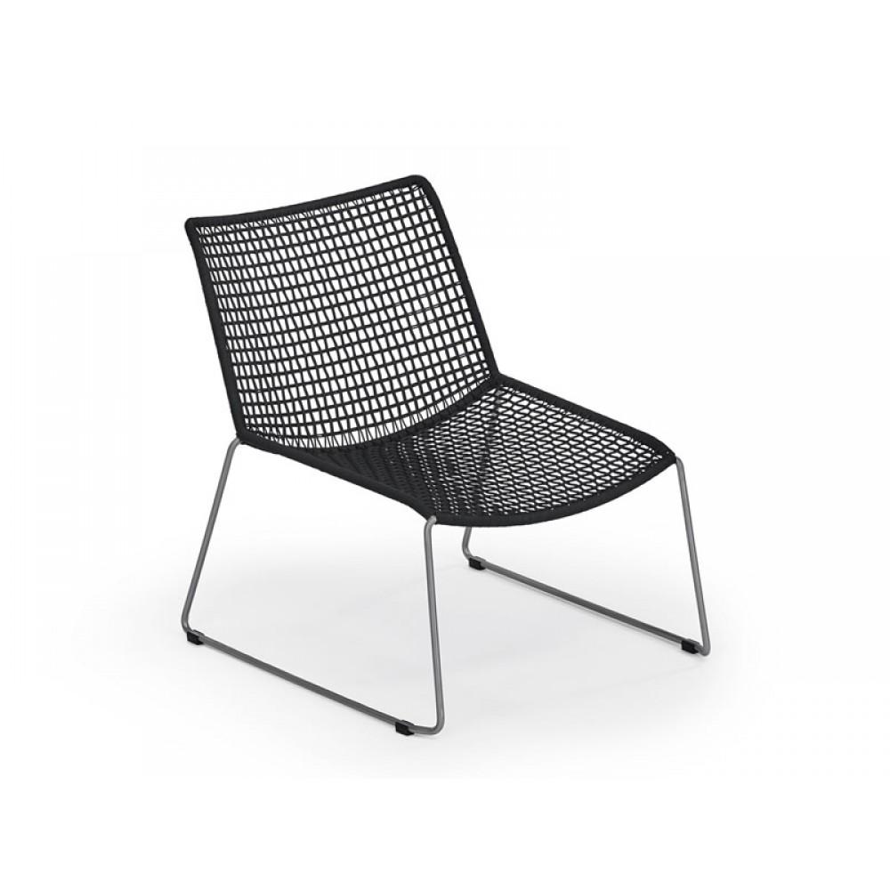 Weißhäupl Lounge Sessel Slope - Edelstahl / Kordelgeflecht
