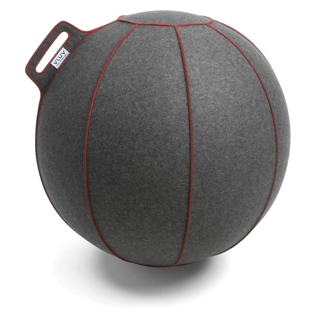 Vluv Velt Sitzball, Grau-Meliert / Rot, 60-65 cm
