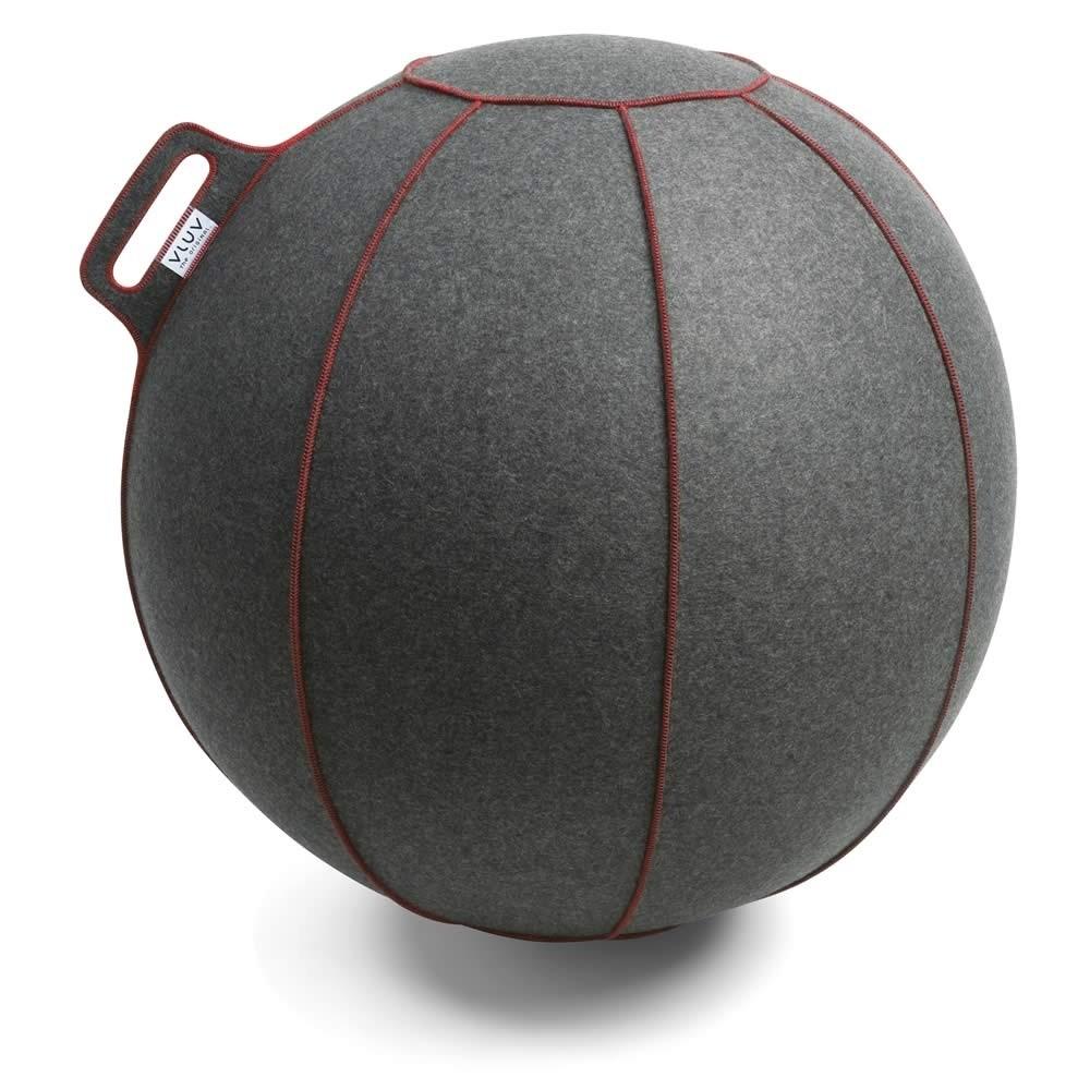 Vluv Velt Sitzball, Grau-Meliert / Rot, 70-75 cm